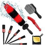Gifort 9 Pcs Set de Cepillo Limpieza Coche, Kit de Detailing Coche, Pincel Limpieza de Detalles con Tamaños Diferentes parael Interior y Exterior de Coche, Motor, Emblemas, Ventilación de Aire