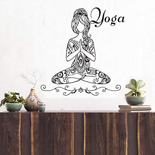 Artista extraíble de alta calidad decoración del hogar hermosa yoga meditación pose chica etiqueta de la pared habitación calcomanía de vinilo valla de papel adhesivo calcomanía de vinilo62cm X 59cm