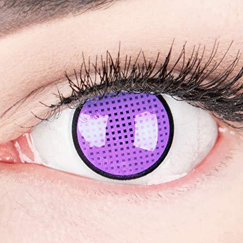 Farbige lila violette Crazy Fun Kontaktlinsen 'Violet Screen R' Jahreslinsen Ohne Stärke mit Gratis Linsenbehälter - Topqualität zu Karneval, Fasching und Halloween (0,0 Ohne Stärke)