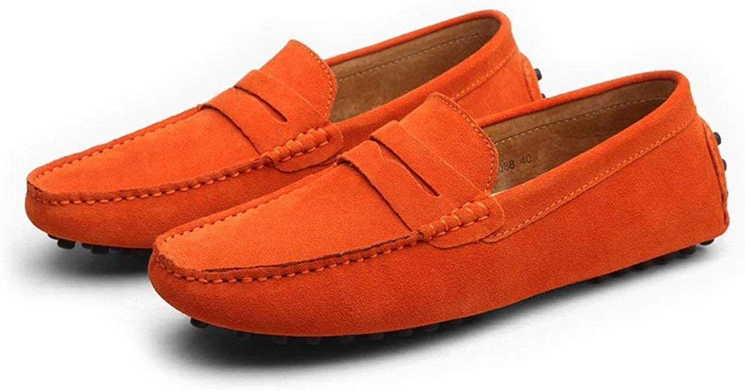 Oudan Men's Moccasins shoes, Men's Driving Penny Minimalism Loafer Suede Genuine Leather Casual Moccasins Slip-on Boat shoes up to size 49 EU (color   As shown, Size   One size)