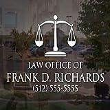 Firma del despacho de Abogados Abogado del despacho Calcomanía de Vinilo Etiqueta Personalizada Nombre de la Empresa Escala de Justicia con número de teléfono 42x25cm