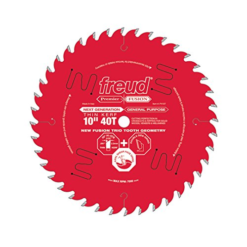 Freud 10' x 40T Thin Kerf Premier Fusion General Purpose Blade for Crosscuts (3/8' to 3-1/2') & Rips (3/4' to 1-1/2') wood, laminate, veneered plywood, hardwoods & melamine. (P410T)