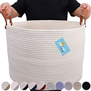 OrganiHaus XXL Cotton Rope Basket with Real Leathe...
