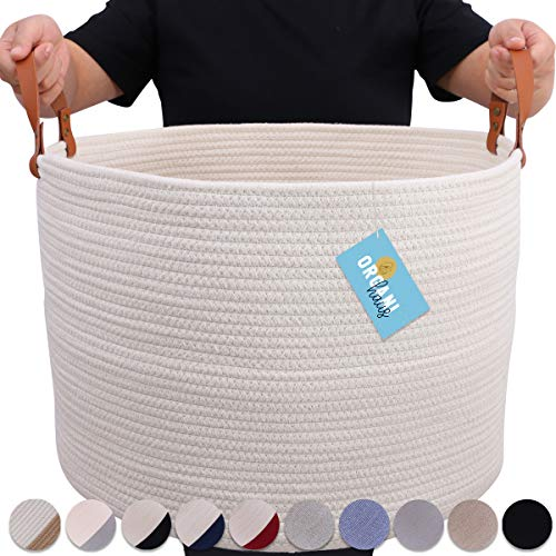 """OrganiHaus XXL Extra Large Cotton Rope Basket with Real Leather Handles   Wide 20""""x13.3"""" Woven Blanket Storage Basket   Decorative Floor Basket for Living Room with Genuine Leather Handles (Black)"""
