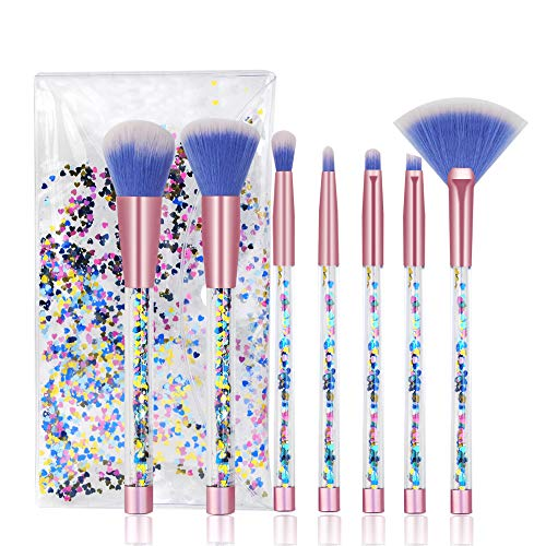 Cute Makeup Brush Set 7PCS Professional Make Up Brushes Quicksand Sequins Acrylic Handle Eye Shadow Blending Concealer Face Fan Special Blue Cosmetic Brush for Girl