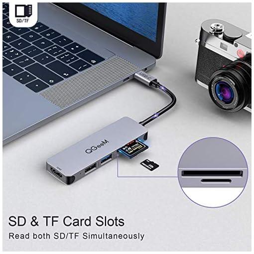 Hub USB C,QGeeM 5 en 1 Tipo C HDMI 4K Adaptador USB C Hub para MacBook Pro iPad, Chromebook, XPS,USB C Dock 4
