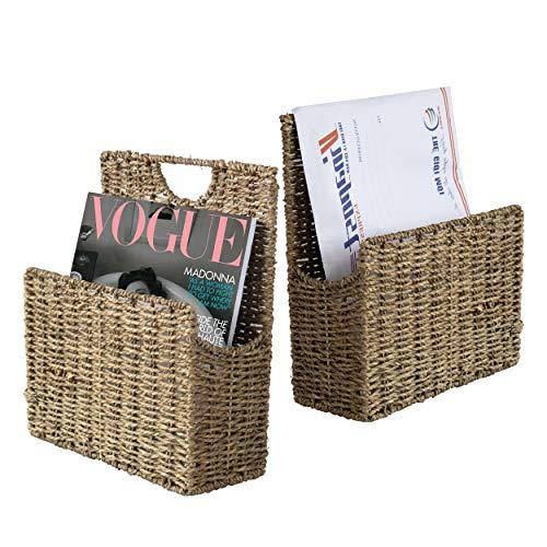 Soporte de pared para revistas de mimbre y organizador de correos, de hierba marina, tejido rústico rústico para colgar en casa y oficina