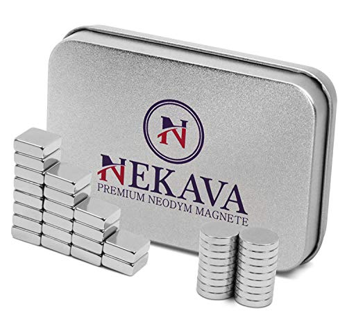 40 neodymium magneten extra sterk met elk 20 stuks rond 10 x 2 mm en vierkante 10 x 10 x 4 voor whiteboard, magneetbord, magneetstrips of koelkast. N52 magneet in hoogwaardige bewaardoos van Nekava