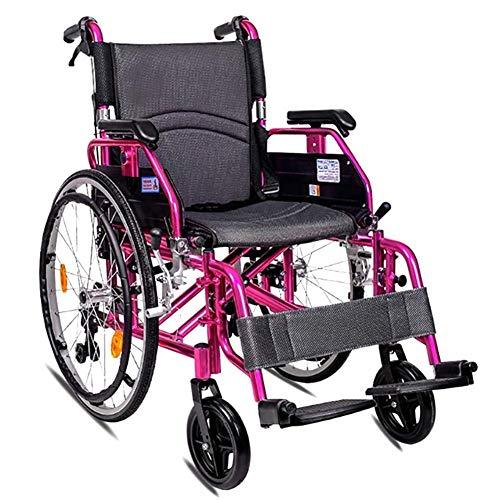 JUNYYANG Ligera silla de ruedas plegable de conducción médica, Silla de ruedas plegable ligera del coche de ancianos sillón de ruedas mayor movilidad reducida magnesio aleación de aluminio de la carre