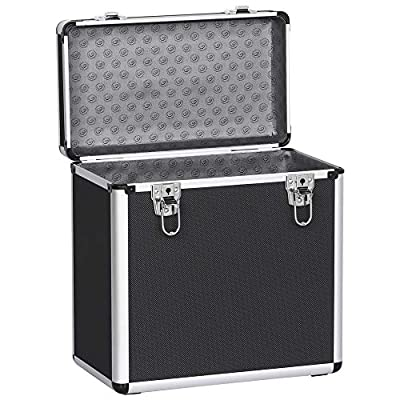 Costoffs Portable Vinyl Record Storage Case Box Lockable LP Record Carry Case Organiser, Holds up to 50PCS (Black)