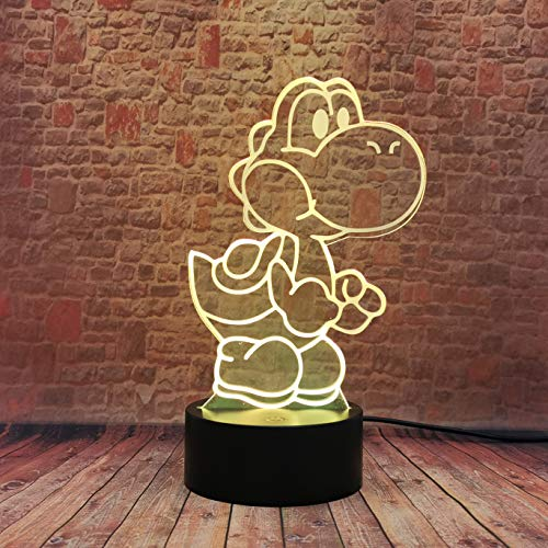 Yoshi 3D LED USB-Lampe Cartoon Spiel Figur Super Mario Acryl Neuheit 16 Farben Ändern Weihnachtsbeleuchtung Geschenk RGB Touch Fernbedienung Spielzeug Jungen Jungen Kinderzimmer Dekor