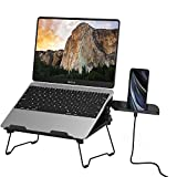 "2 in 1 Laptop Notebook Stand with Phone Stand Elekin Adjustable Portable MacBook Stand Foldable Notebook Holder Ergonomic Laptop Riser for MacBook, Air, Pro, Surface Laptop, Ipad, Books to 15.6"",Black"