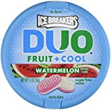 Combines sweet fruity taste with refreshing cooling crystals A mouth-watering, fruit flavored treat Refresh your mouth with Ice Breakers Duo Sugar-Free Watermelon flavored mints