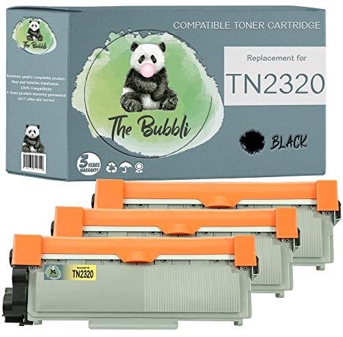 The Bubbli Original | TN-2320 TN 2320 Tóner Compatible para Brother HL-L2340DW MFC-L2700DW HL-L2300D HL-L2360DN DCP-L2500D HL-L2365DW DCP-L2520DW MFC-L2720DW MFC-L2740DW DCP-L2540DN (3 Negro)