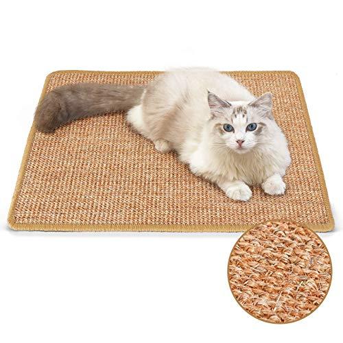 FUKUMARU Cat Scratcher Mat, 23.6 X 15.7 Inch Natural Sisal Cat Scratch Mats, Horizontal Cat Floor Scratching Pad Rug, Protect Carpets and Sofas