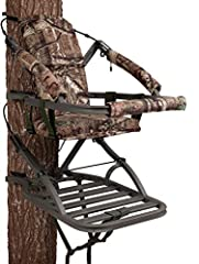 "Closed-front aluminum climbing stand Suspended foam-padded seat with backrest in Mossy Oak Break-Up Infinity camo Weighs 20 lbs. and holds up to 300 lbs. Green Utility Strap 18"" W x 12"" D seat size, 20"" W x 26.5"" D platform size Includes Full-Body Fa..."