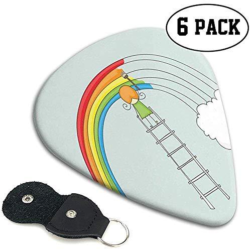 Gitaar Picks 6 stks,Doodle Van Een Meisje Op Ladder Schilderen Regenboog Met Wolken Op Bleke Toned Achtergrond