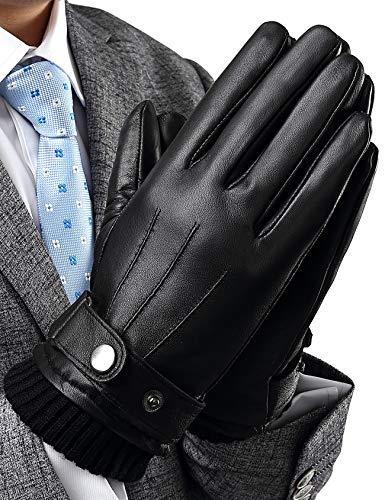 INFLATION Herren Lederhandschuhe Echt Leder Vollhand Touchscreen Warm gefütterte Handschuhe verstellbar Windschutz Geschenk Packung Schwarz XL