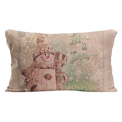 ldj manta de algodón lino silla Rectángulo funda de almohada Funda de cojín (diseño de funda de almohada con diseño de muñeco de nieve de Navidad con copos de nieve Custom funda de almohada Impresión un lado tamaño 12x 20cm