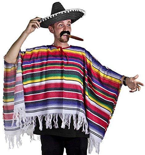 ILOVEFANCYDRESS Poncho mexicano Sombrero & Tash Western disfraz para hombre señoras un tamaño S-XL