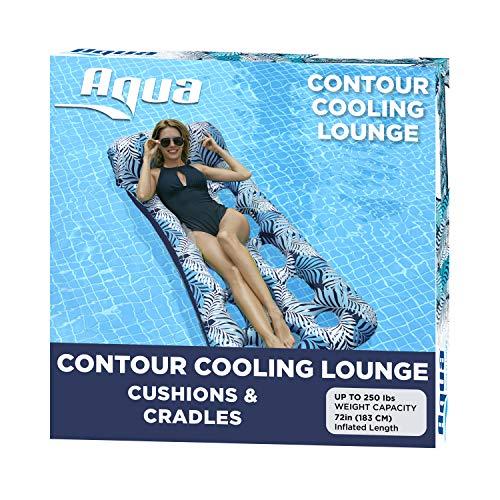 Aqua 18-Pocket Inflatable Contour Lounge, Luxury Fabric, Suntanner Pool Float, Heavy Duty, Blue Ferns