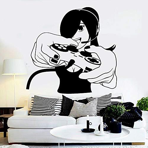 Tianpengyuanshuai Spieler Mädchen Wandaufkleber Videospiele Vinyl Wandtattoos Spielzimmer Spiel Aufkleber Wohnzimmer Schlafzimmer Dekoration 46X50cm