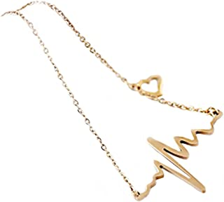 Willsa New Women Necklace Heartbeat Rhythm with Love Heart Shaped Necklace