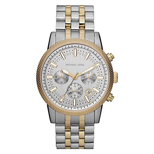 Michael Kors - Reloj cronógrafo Hutton con Correa de Acero Inoxidable en Tono Plateado y Dorado para Hombre MK8238
