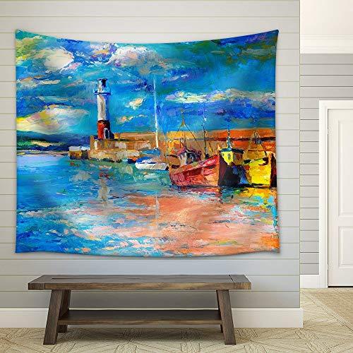 230x180 cm Muur woondecoratie art abstract olieverf tapijt deken Vuurtoren en Boten Rijke Gouden Zonsondergang Over Oceaan Tapijt Home Decor