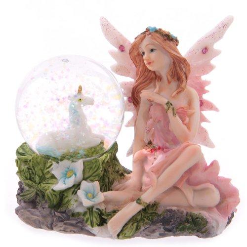 Glitzerkugel Blumenfee rosa Schneekugel Figur Schneekugeln Elfe Fee Fairy Märchen