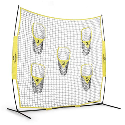 PodiuMax Portable Football Trainer Throwing Net, 8ft x 8ft Knotless Net for Improving QB Throwing Accuracy with 5 Target Pockets, with Carry Bag