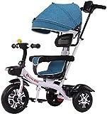 Sillas de paseo Trikes del niño Bici del niño Triciclo triciclos por 1-3-6 años de Asiento Ajustable de los niños con el pabellón Estribo de Empuje con Cochecito Convertible Trike Carritos