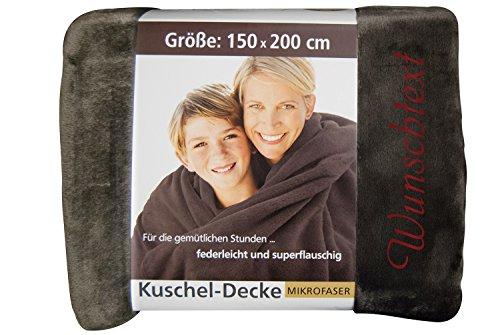 KringsFashion PREMIUM Kuscheldecke 150 x 200 cm - Individuell anpassbar mit Namen und Text - Hochwertige Decke aus 100 % Polyester - Tagesdecke-Farbe Braun-Stickfarbe wählbar