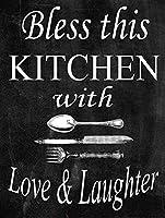 このキッチンを愛と笑いで祝福ブリキ看板ヴィンテージ錫のサイン警告注意サインートポスター安全標識警告装飾金属安全サイン面白いの個性情報サイン金属板鉄の絵表示パネル