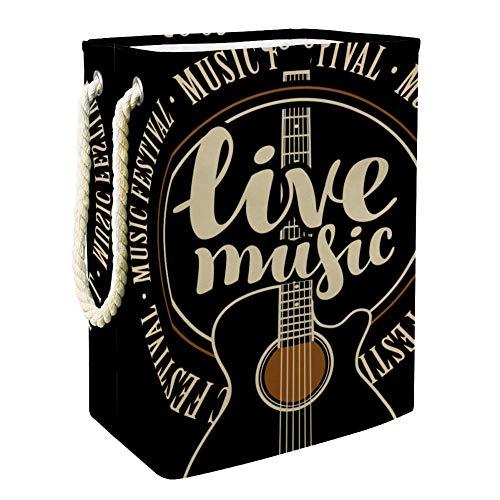 Yoliveya Faltbarer Wäschekorb 48,3 cm wasserdicht Aufbewahrungsbehälter für Schlafzimmer Waschküche Badezimmer Live Musik Zitate Gitarre Muster