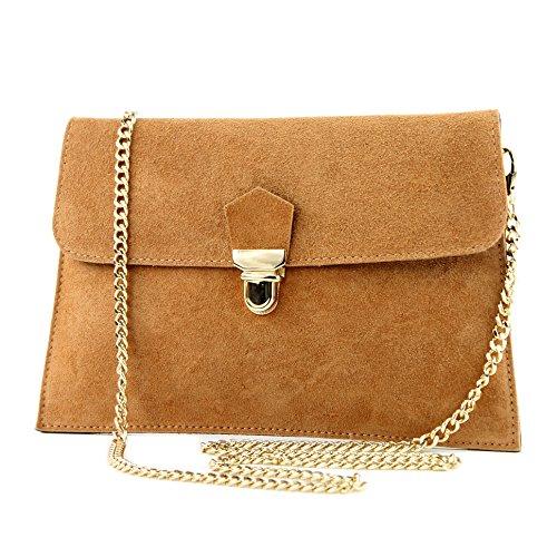 modamoda de -. ital Borsa scamosciata frizione borsa borsa borsa da sera Città T206, Colore:cammello