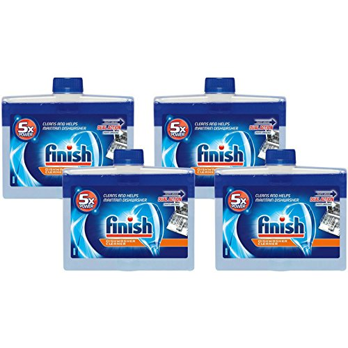 Finish Dishwasher Machine Cleaner, 8.45 fl oz Bottle, Dual Action to Fight Grease & Limescale (Pack of 4)