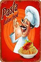 パスタの伝統的なイタリア料理さびた錫のサインヴィンテージアルミニウムプラークアートポスター装飾面白い鉄の絵の個性安全標識警告アニメゲームフィルムバースクールカフェ40cm*30