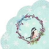 IHR Rondo - Tovaglioli di carta tondi scanalati in Giappone, motivo uccellini azzurri