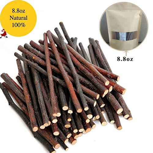 Bojafa 250g Apple Sticks Small Animals Molar Wood Treats Toys Chinchilla Guinea Pig Hamster Rabbit Gerbil Parrot Bunny and Small Animals Chew Stick Toys Treats (250g, About 50 Pcs)