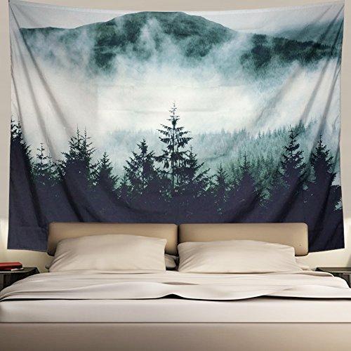 Tapeçaria de parede Heopapin Misty Forest com montanhas, tapeçaria de neblina, fantasia, árvores mágicas, paisagem, mandala, boêmio, tapeçaria de parede, tapeçaria de árvore natural, visão 3D, tapeçaria de parede, Misty Forest, X-Large