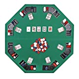 JungleA 48-inch Portable Poker Table Top Folding Octagon 8-Player Poker Cover Topper Casino Layout Cover with Carrying Case