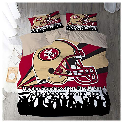 HOXMOMA NFL Duvet Cover and 2 Pillowcases, Children Hypoallergenic Quilt Cover with San Francisco 49ers Pattern, Soft Microfiber Bedding Set 3 Pieces for Teens,Beige,US 173x218