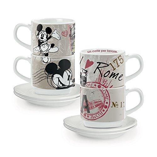 Egan PWM02I/RO Set Tazze Caffe, Modello in The City Roma, Porcellana, Multicolore, 4 unità