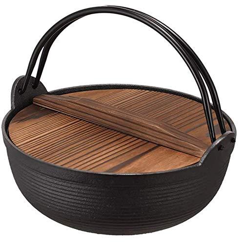 HJJ Pote de Hierro Fundido Sukiyaki, caldero de Estilo japonés con Tapa de Madera aislada sin Recubrimiento para Varias Estufas de 9,8 Pulgadas de diámetro