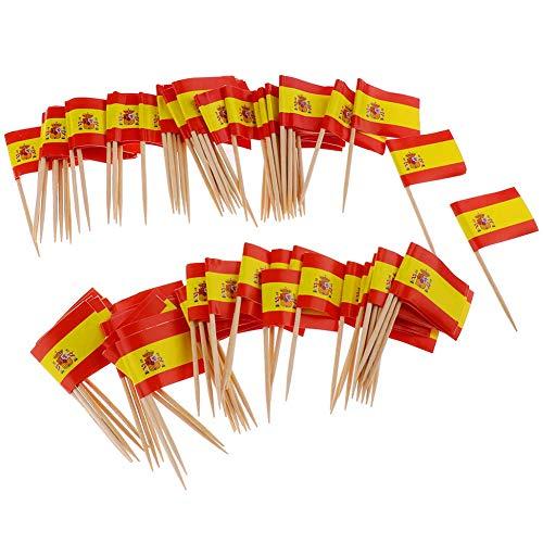 Yisily 100 Stück Papier Spanische Flagge Picks Mini Fruit Cocktail Essen Zahnstocher Sticks Flagge Partydekoration Flaggen Der Welt