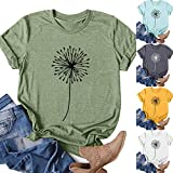 T-Shirts for Women,Women Casual Tunic Tops Short Sleeve V Neck Tshirts Summer Cute Printed Loose Graphic Tee Blouse Shirts Shirts for Women Dressy Casual Navy Summer Tops Dressy