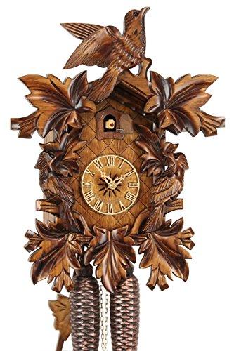 Eble Reloj de cuco original de la Selva Negra, reloj de cuco de madera auténtica, mecanismo mecánico de 8 días, certificado VDs, 39 cm, 38-07-12-80