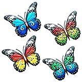 4 Piezas Mariposas de metal, Mariposas de Metal de Arte Decoración de pared de mariposa escultura colorida para colgar en la pared de jardín para decoración del hogar en interiores y exteriores