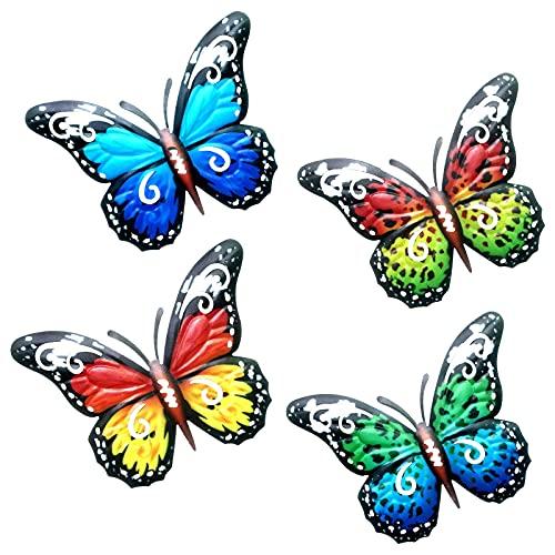 GLAITC 4 Pezzi Farfalle in Metallo, Farfalla Decorazione da Parete Scultura Giardino colorato Arte della Parete Farfalle Artigianato in Metallo per la Decorazione Domestica di Interni ed Esterni